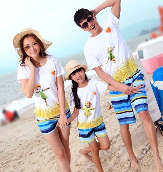 Family outfits New cotton woman girls man Boys sets scarecrow beach t shirt+ pants sets