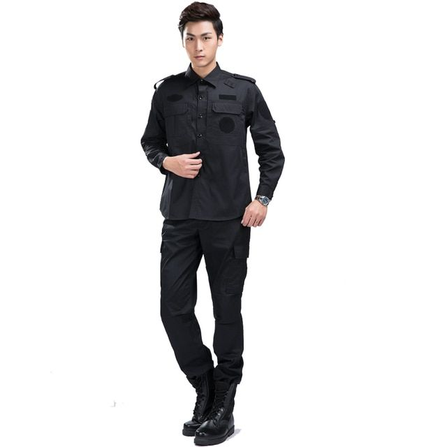 Spring/Autumn New safety security guard clothing work men turn-down collar solid color long sleeve slim uniform suit #ZZ015