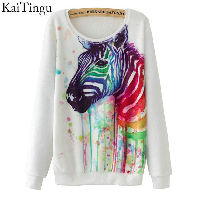 KaiTingu Brand 2016 Fashion Autumn Women Long Sleeve Flannel Tracksuit Hoodie Zebra Watercolor Print Casual Pullover Sweatshirt