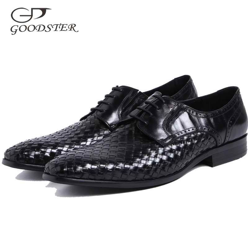Goodster Hand Woven Brogues Men Dress Shoes Genuine Leather Black Pointed Lace Up Wedding Business Office Oxfords GSTD011