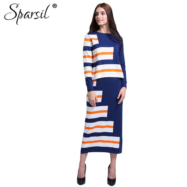Sparsil Women Autumn Cashmere Blend Striped Style O-Neck Pullover Sweater +Long Skirt Lady Casual Knitted Sweaters