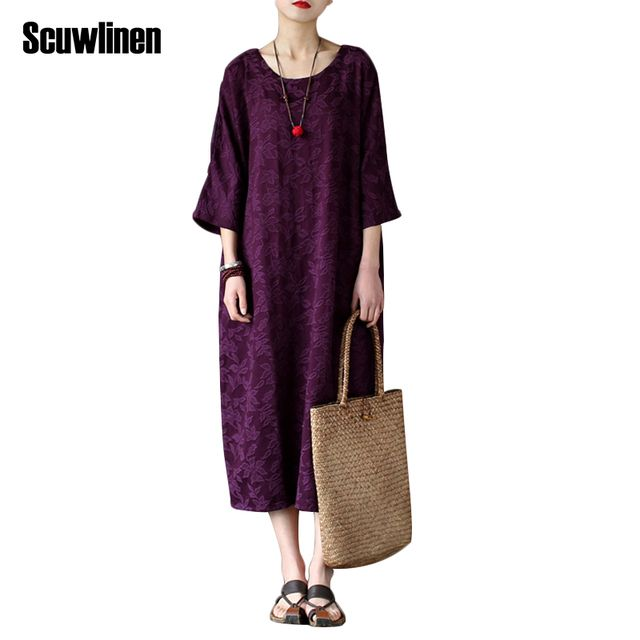 SCUWLINEN 2017 Spring Dress Women Vintage 100% Cotton Jacquard Three Quarter Plus Size Loose Dress Casual Long Robe Vestidos