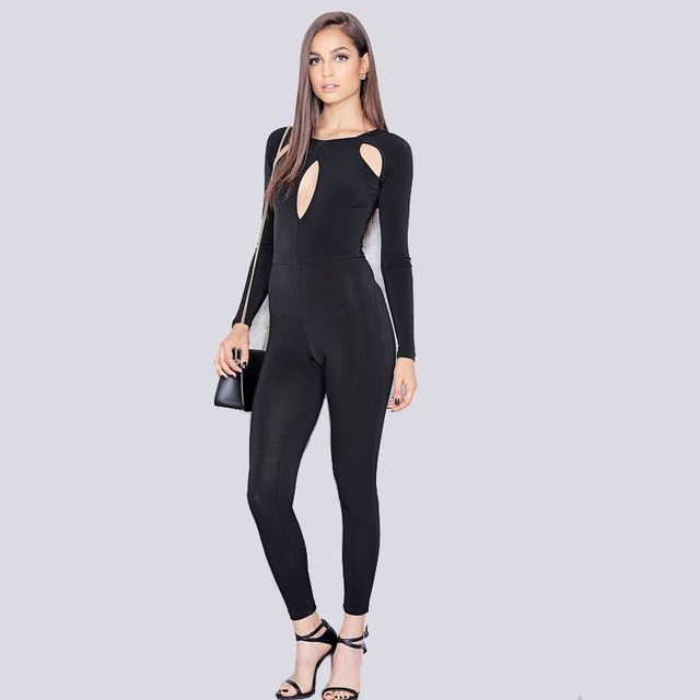 Europe and the United States new winter jumpsuit long-sleeved sexy black skinny nightclub jumpsuits wholesale and retail