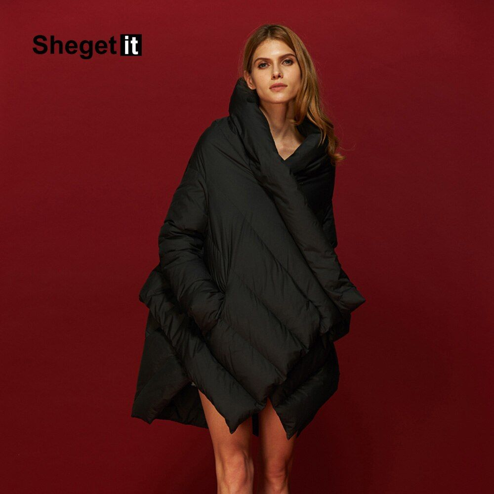 Shegetit Women Plus Size Down Coat Parka 2018 Winter Warm Jacket Women Cloak Outerwear 90% Duck Coat Down Jacket Female Women