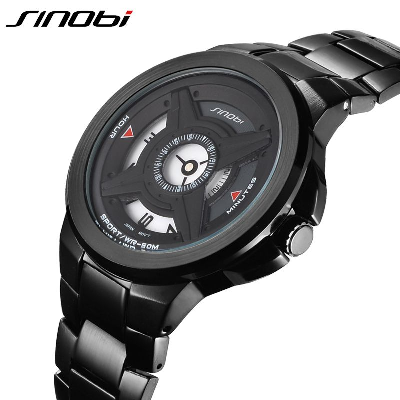 SINOBI Mens Watches Top Brand Metal Strap Black Silver Two Color Fashion Style Sport Watch Men Waterproof Relogio Masculino 2019