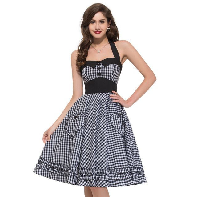 2017 Robe XXL XXXL Plus Size Vintage Dress Summer Full Circle Backless Plaid Brand New 50s 60s Rockabilly Dresses Pinup Vestidos