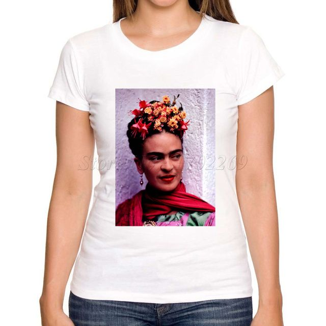 Asian Size Hot sale women short sleeve casual slim t shirt art Frida Kahlo printed lady tee shirts fashion novelty funny tops