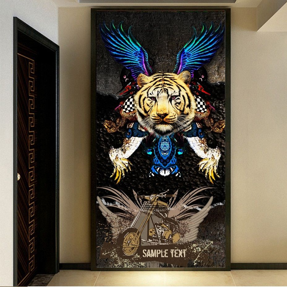 PSHINY 5D DIY diamond embroidery sale tiger Animal pictures of rhinestones Full drill Square diamond paintings New arrivals