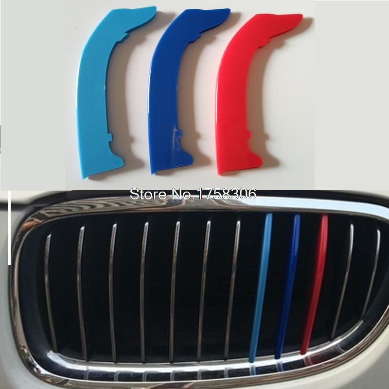 3D M Styling Car Front Grille Trim Sport Strips Cover Motorsport Power Performance Stickers for 2003-2012 BMW 3 Series E90