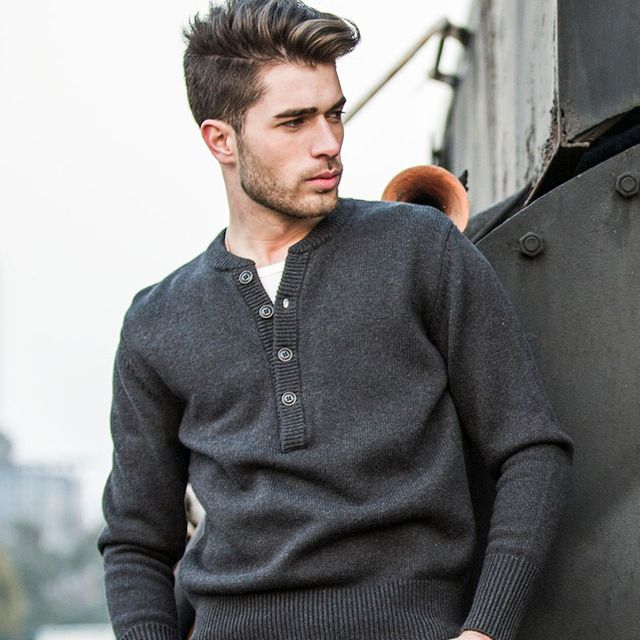AK CLUB Brand Sweater For Men Casual Pullover Henley Sweater Cotton Wool Knitted Sweater Fashion Warm Shoulder Spliced 1503006