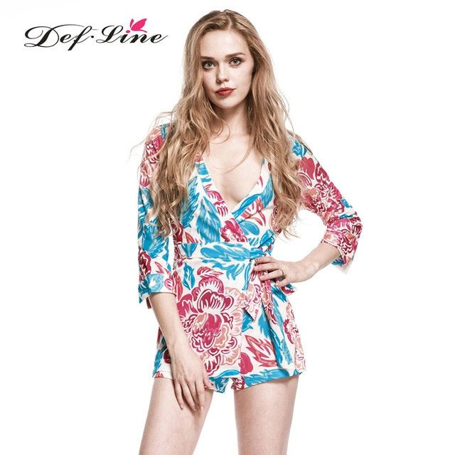 DEFLINE New Arrival Autumn Winter Bodycon Romper Jumpsuits V-neck 3/4 Sleeve Playsuit Floral Print Short Overalls Tie on Waist