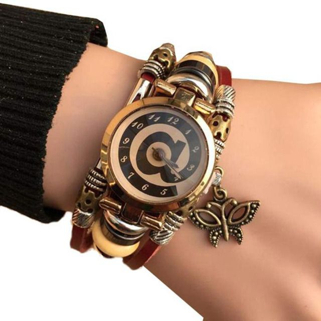 Top brand Women's Bracelet Watches Retro Punk Cowhide Leather Bracelet pendant Watch Casual wrist Watch relogios femininos #A89