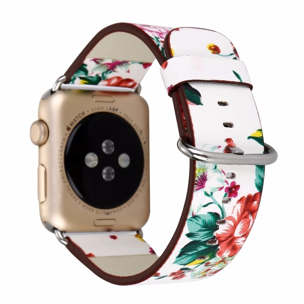 Leather Watch Band for Apple Watch 42/44mm 38/40mm Series 1/2/3/4 Flower Strap Floral Prints Wrist Watch Bracelet I212.