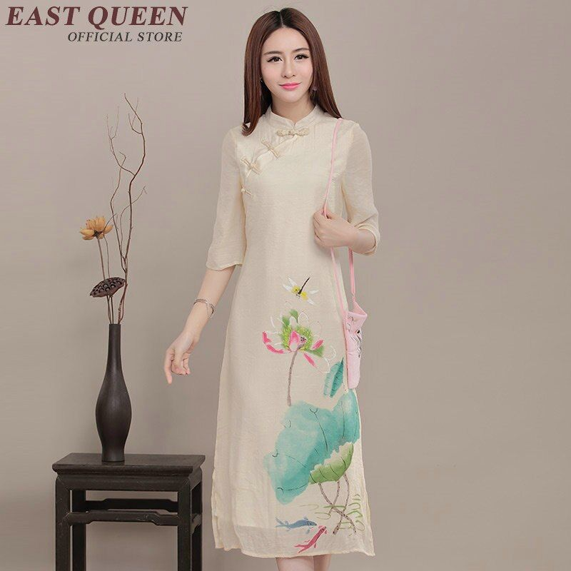 Chinese oriental dresses summer oriental styled dresses lotus modern qipao dress ladies elegant modern cheongsam  AA704