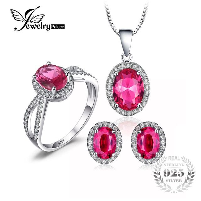 Jewelrypalace Classic Pink Created Sapphire 925 Sterling Silver Crystal Jewelry Set Ring Earring Pendant Wedding Vintage Jewelry
