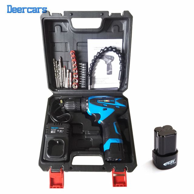 16.8v Cordless Electric Screwdriver Drill Two Battery Screwdriver Rechargeable Electric Power Tools Plastic Case With Bits