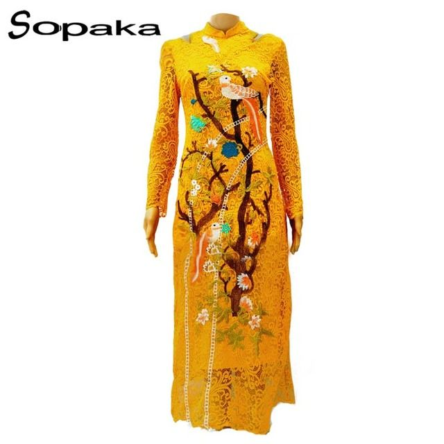 SOPAKA High Quality Runway Embroidery Dress For Women . Yellow Khaki Lace Full Sleeve Casual Slim Women Dress