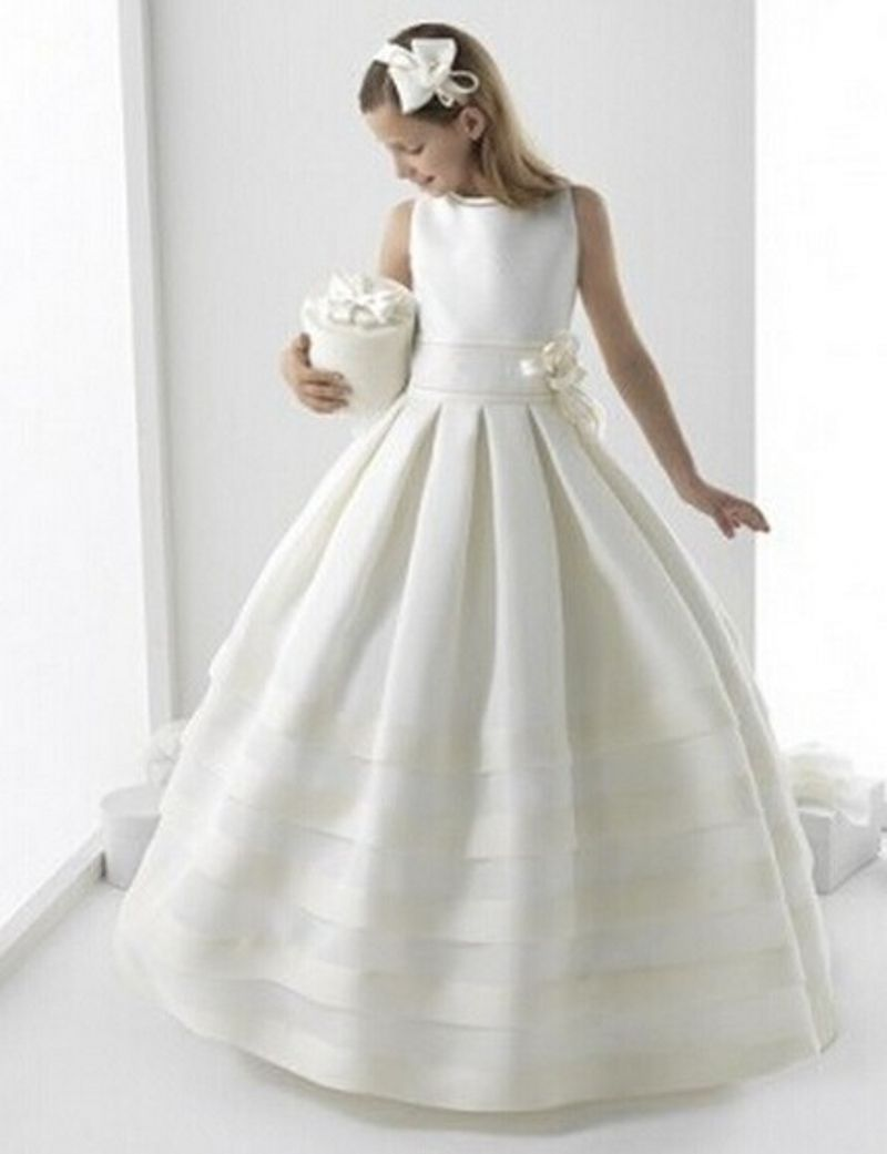Pageant Ball Gowns  First Communion Dresses For Girls 2016 A-line High Collar Flower Girl Dresses kids prom evening gowns