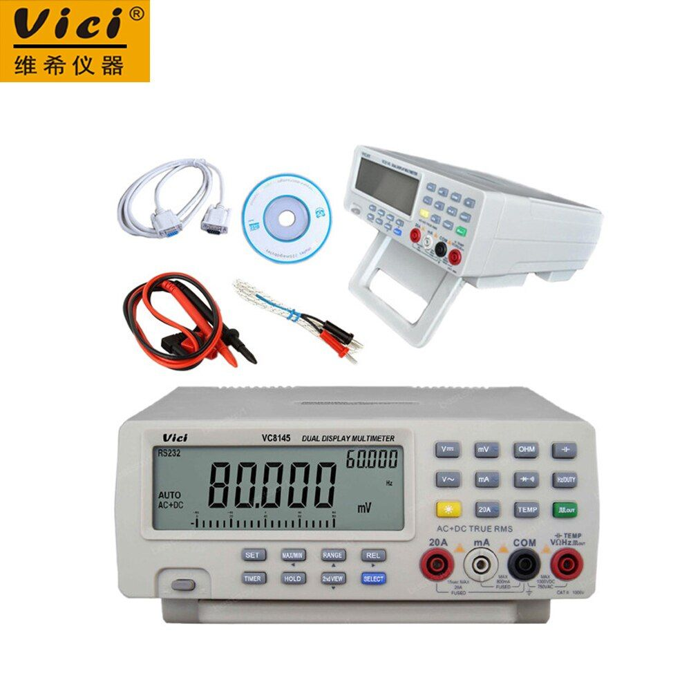 Vici VC8145 DMM Digital Bench Multimeter Temperature Meter Tester PC Analog 80000 counts Analog Bar Graph backlight