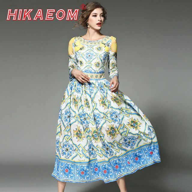 3 Qualter Sleeve Retro Maxi Dresses O Neck Low Cut Loose Pleated 2018 Early Spring New Zipper Runway Vintage Print Long Dress