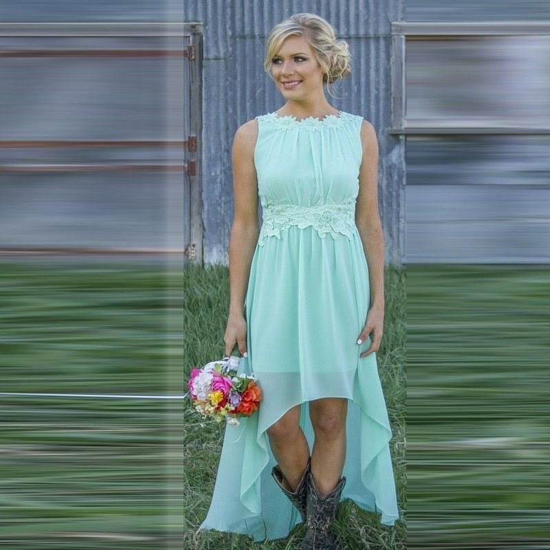 Great Mint Green Bridesmaid Dresses High Low Custom Size Boat Neck Backless Chiffon Party Gown Hot Design