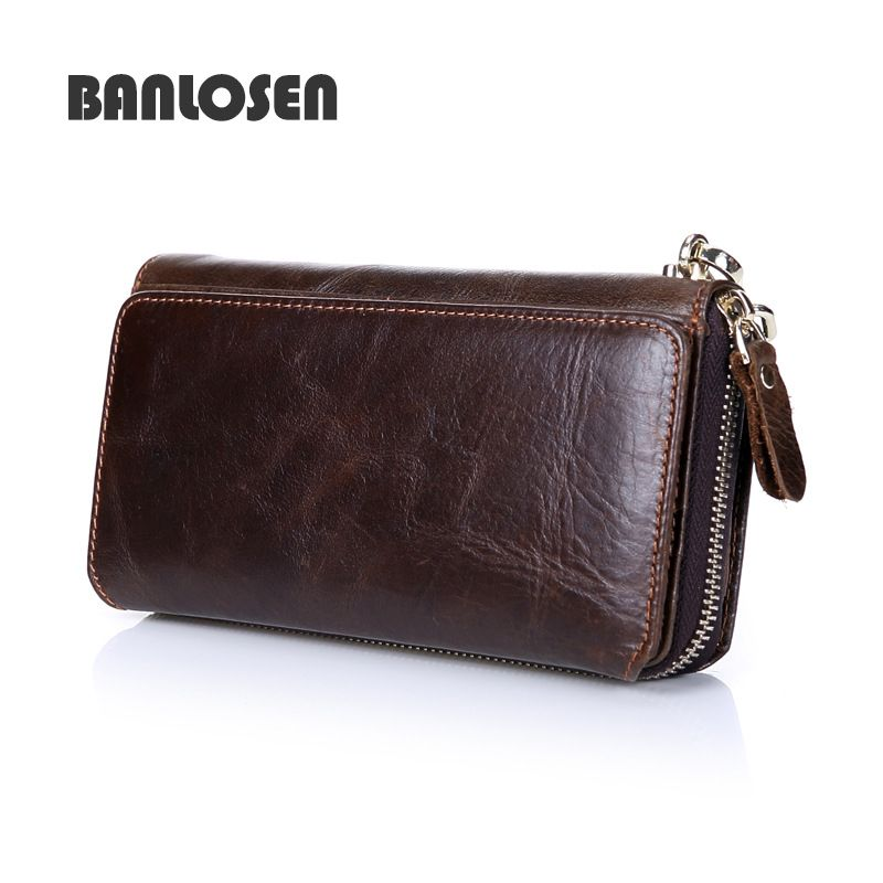 Genuine Leather Men Wallets with Multi Card Holders Men's Clutch Wallets Long Purses for Men