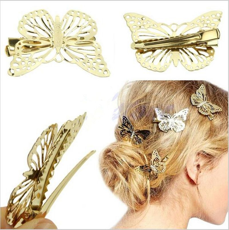 Heyouthoney Hot fashion Women Shiny Golden Butterfly Hair Clip Headband Hairpin Accessory Headpiece Apparel Hair Accessories