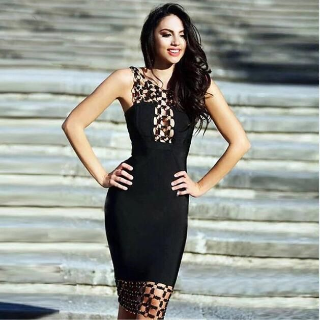 6 Colors Sexy Sequined Hollow Out Knee Length White Black Bandage Dress 2016 Women's Elegant Rayon Bodycon Bandage Dress