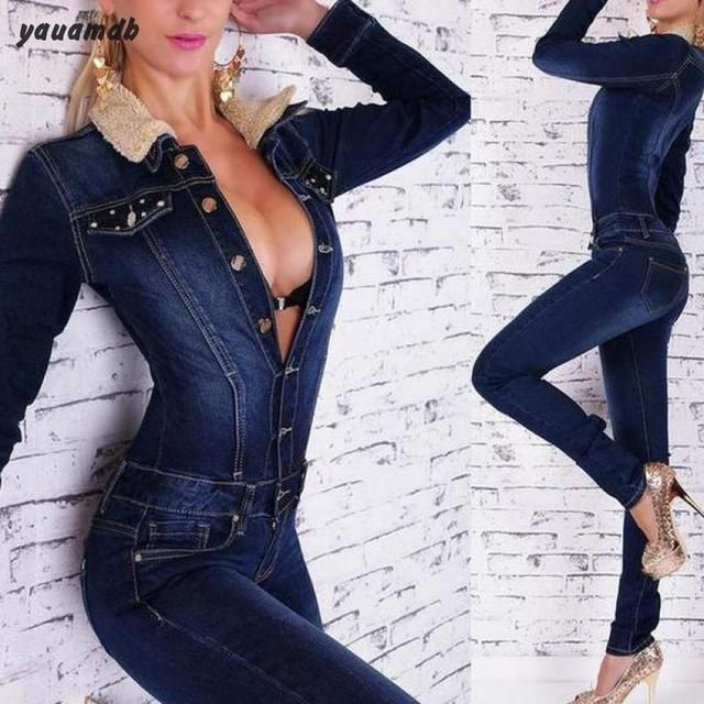 s-xl women jumpsuit 2016 autumn/winte Cowboy Slim bodysuit female rompers mujer bodycon feminino Long Sleeved Button playsuit 70