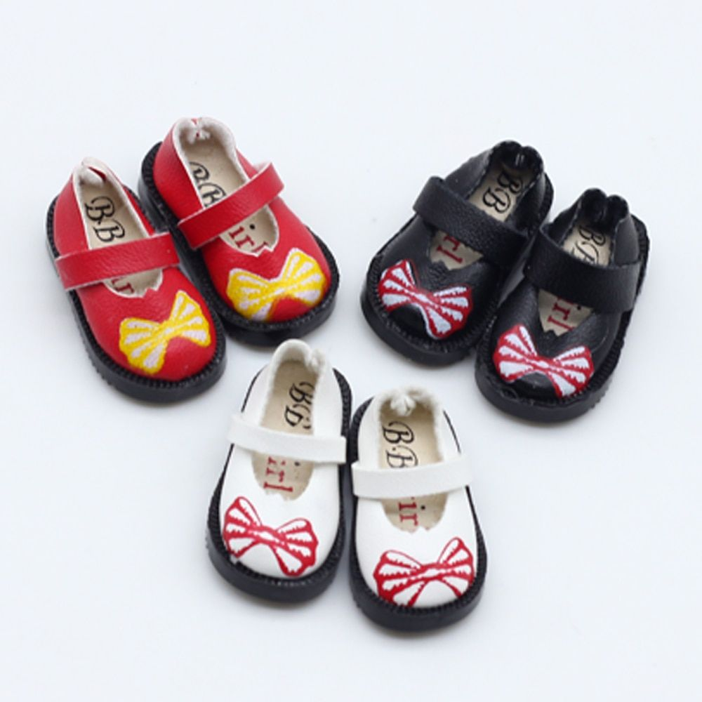 3.2cm 1/8 Printing bowknot shoes For BJD Blyth Doll Shoes for Pullip Licca Lati 1/6 Dolls