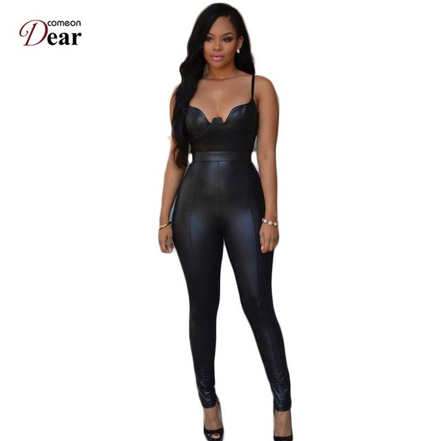 Comeondear Sexy Skinny Women Jumpsuit Multi Colors Tight-Fitting Open Back Leather Jumpsuit  Full Length RP80281 Jumpsuit Summer