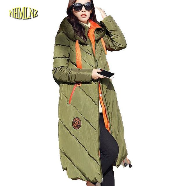 Women Winter Coat Long sleeve Splice Hooded Long Jacket Thick Warm Cotton Down jacket Large size Loose Leisure Womens Coat G2633