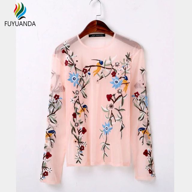 Lace Pink Shirt For Women Long Sleeve Black Embroidery Flower Blouse Pullover Blouses Sexy Transparent  Tops Summer Renda Blusas
