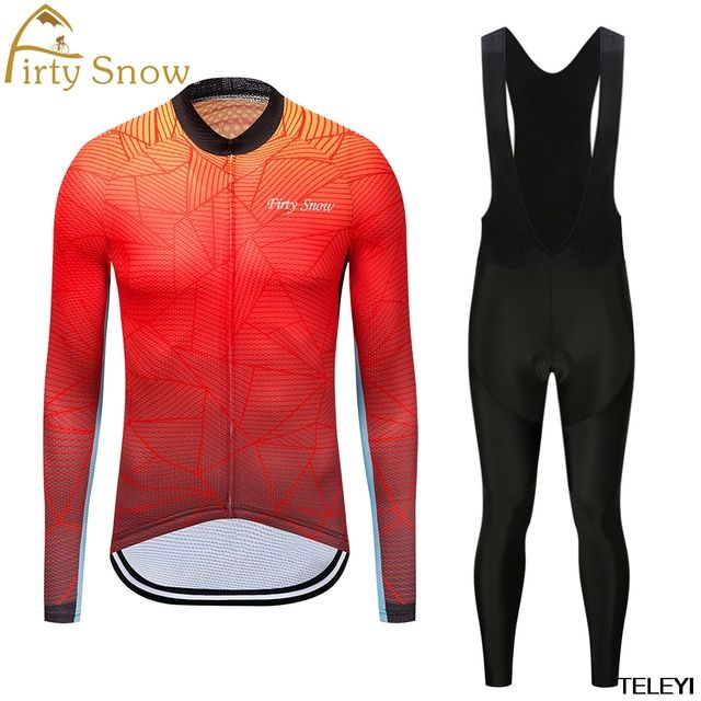 firty snow 2Spring Summer Men's Long Sleeve Cycling Jersey Sets Breathable 4D Padded Bicycle Sportswear Cycling Clothings Yellow