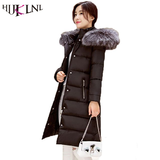 HIJKLNL 2017 fashion parkas mujer Outerwear Winter fur collar Parkas Women Hoods Cotton-padded Coat Medium Casual Jacket JX019
