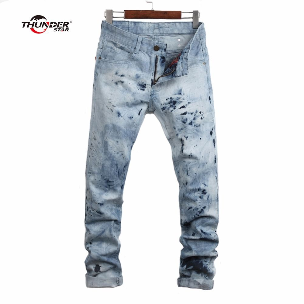 THUNDER STAR ashion Jeans Men 100% Cotton Famous Brand Designer Men Jeans With Crystal Wings Mens Denim Jogger Size 28-38