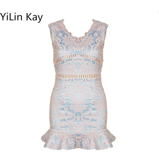 YiLin Kay women dress summer 2017Sexy socialite v-neck backless hollow out  cultivate one's morality Lace dress