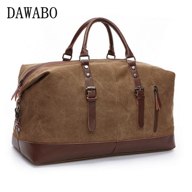 DAWABO Brand Canvas Leather Men Travel Bags Carry on Luggage Bags Men Duffel Bags Travel Tote Large Weekend Bag Overnight