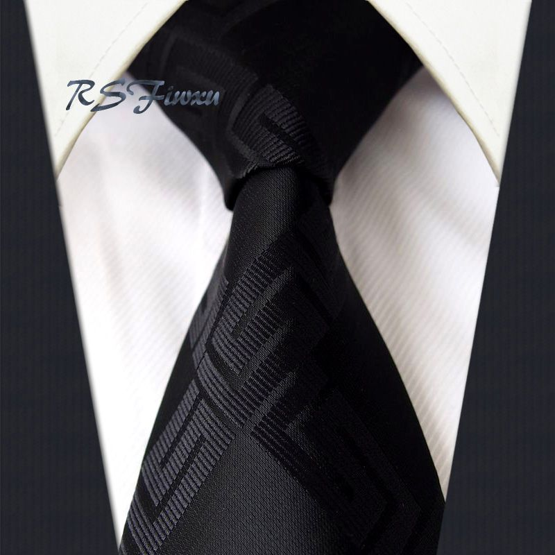 Free Shipping Solid Black 100% Silk New Jacquard Woven Classic Men's Tie Party Necktie Wedding Wholesale