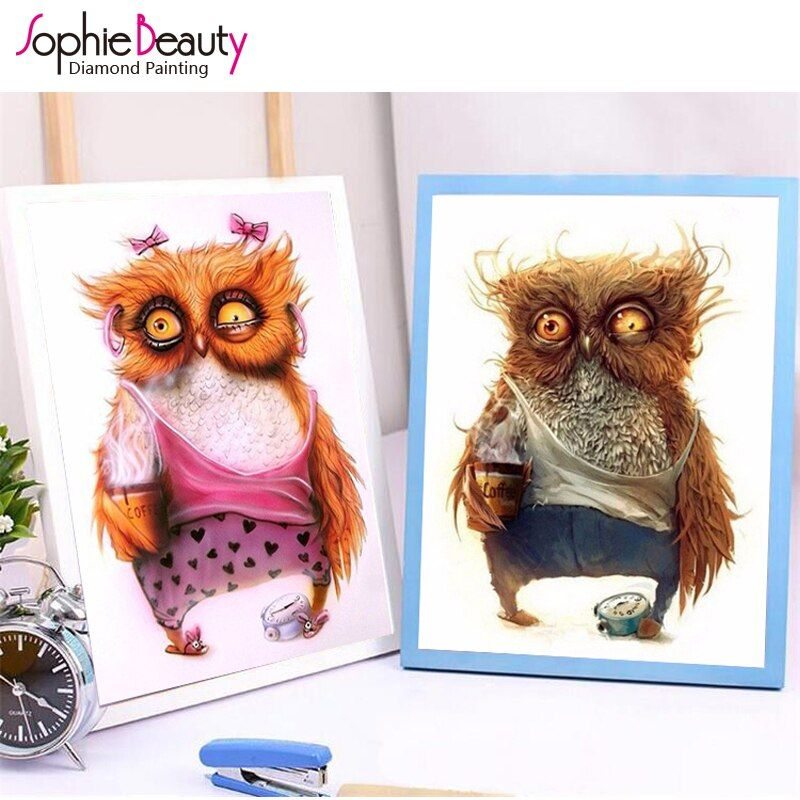 Diamond Embroidery Diy Diamond Painting Cross Stitch Kits Diamond Mosaic Crystal 7 Style Cute Owls Embroidery Beads Needlework