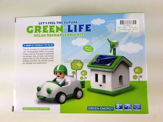Free Shipping Funny Solar toy Let's Feel the Future Green Life Solar Rechargeable Kit!