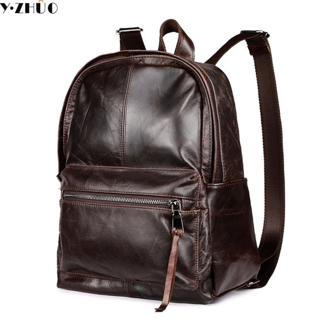 cowhide genuine leather man bags vintage double shoulder bag mochila escolar school Laptop bag male travel luggage bag