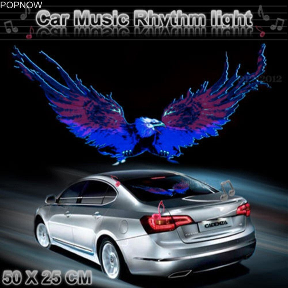 50x25cm Car Sticker Music Rhythm LED Flash Light Lamp Voice-activated Equalizer Stickers Auto Vehicle LED Car Styling Stickers