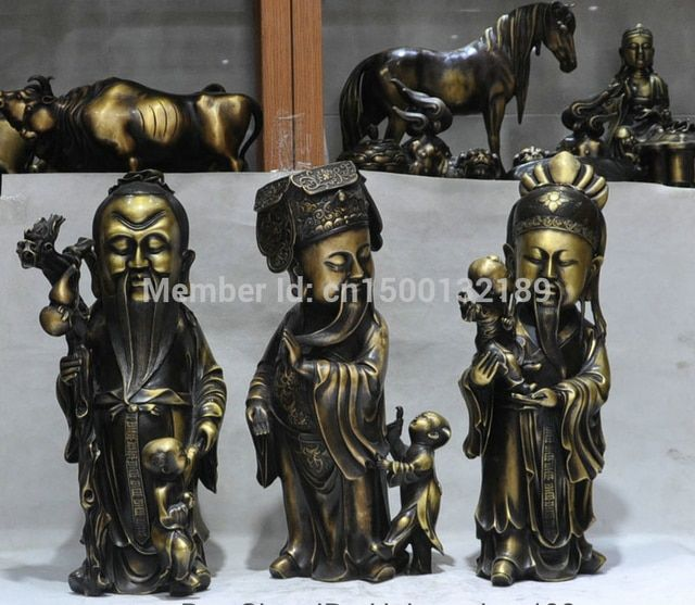 xd 00118 21' Chinese Bronze 3 Longevity God Fu Lu Shou Life Wealth Good Luck Statue Set