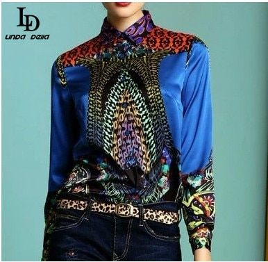 LD LINDA DELLA 3XL Sexy printed Shirt Women's Long sleeve Casual blouse Green & High Qulity Blouse Slim Fashion Tops