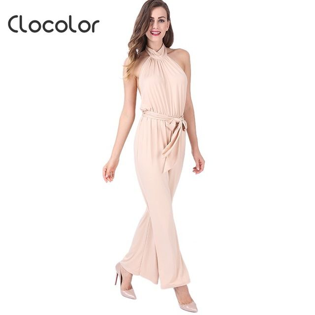 Clocolor Spring Summer Autumn Jumpsuit High Waisted Long Slim Chiffon Full Length Plain Lace U Elegant Overalls for Women