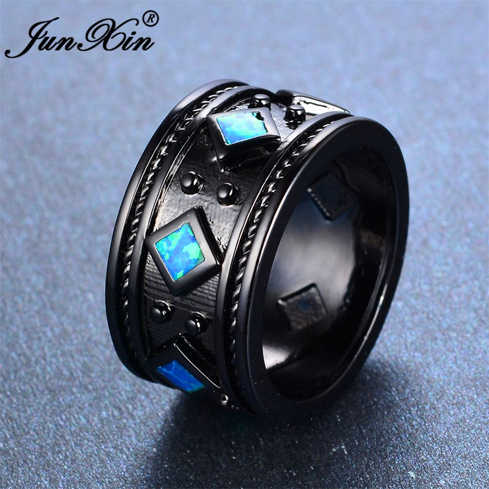 JUNXIN Female Blue & White Fire Round Opal Ring Fashion Black Gold Filled Jewelry Vintage Wedding Rings For Men And Women