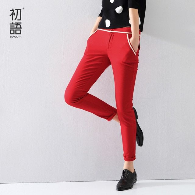 Toyouth 2016 Women Pants Ankle-Length Slim Pencil Pants OL Style Ladies Solid Skinny Mid Waist Casual Trousers XXL Size