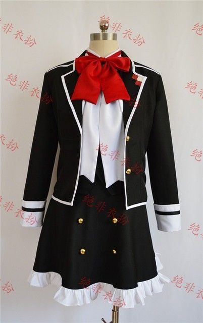 Anime Diabolik Lovers Yui Komori Cosplay Costume Black Uniform Dress Skirt Free Shipping