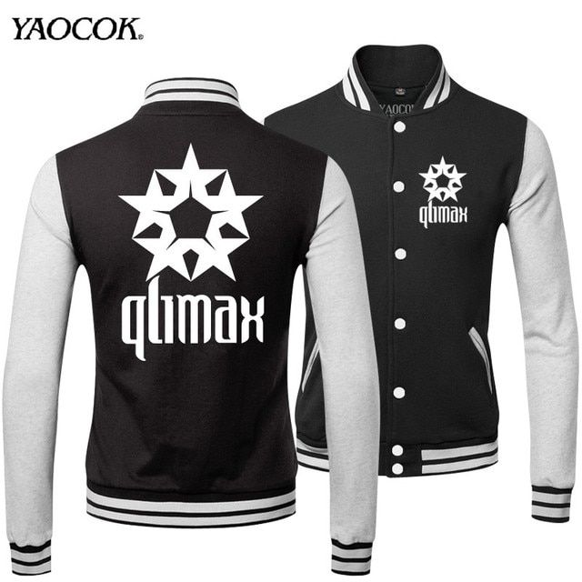 New 2016 Fashion Famous Brand Warm Winter Printed Qlimax Rock Band Bomber Punk Uniform Cool Mens Casual Jackets And Coats